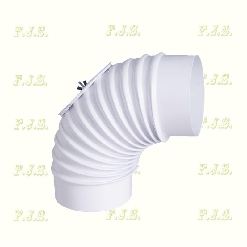 alumínium Könyök Ø 76/ 90° tisztítónyílással Szinterezett fehér