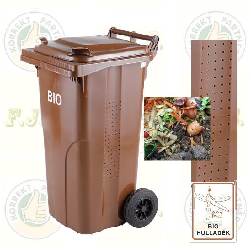 BIO 120 l. barna Kuka komposzt-hulladékgyűjtő kültéri szelektív szemetes CE