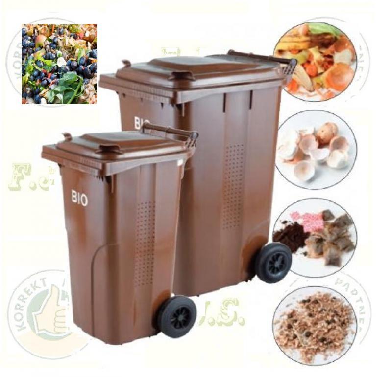 BIO 240 l. barna Kuka komposzt rostéllyal. kültéri szelektív szemetes CE