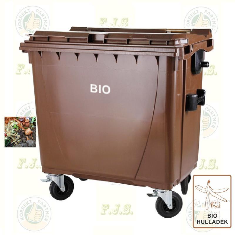 BIO konténer 770 literes barna komposzt-hulladékgyűjtő, kültéri szelektív szemetes CE