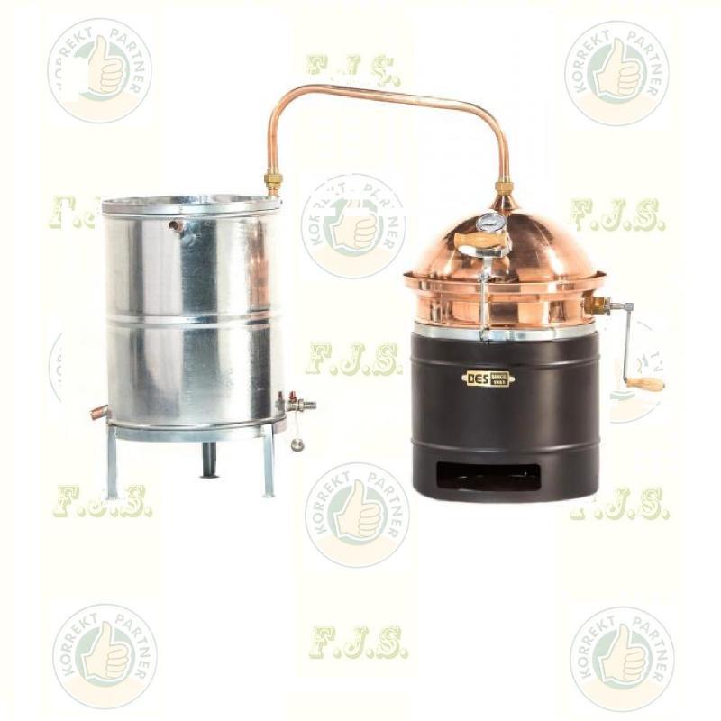 DES pálinkafőző 35 L keverővel horganyzott, spirálcsöves 50 L-es hűtővel