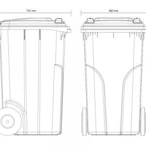 Kuka 240 l. fekete hulladéktároló műanyag 240l. kültéri