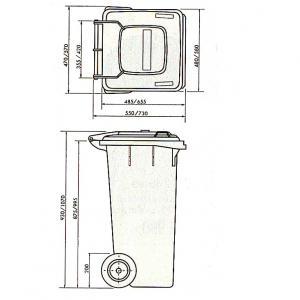 Kuka 240 l. sárga kültéri szemetes CE