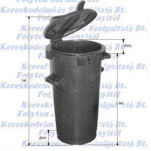 Kuka 50 l. fekete hulladéktároló műanyag ECO 50l kültéri