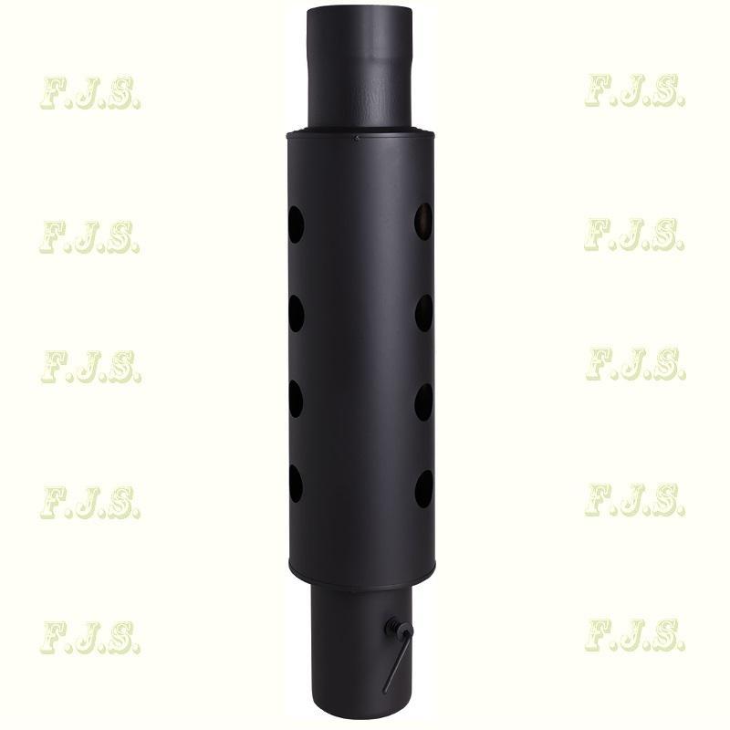 Füstcső Hődob Ø120 hőcsöves huzatszabályzós fekete 1 mm vastag falú hőfokozó