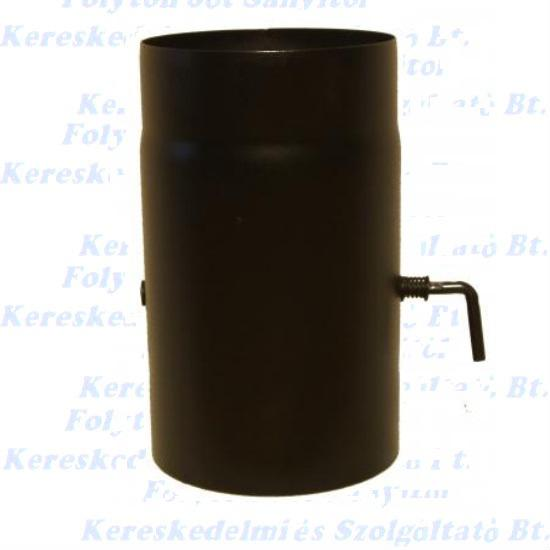 Füstcső huzatszabályzó Ø130/25 vastag falú 1,6-1,8mm fekete pillangószelep