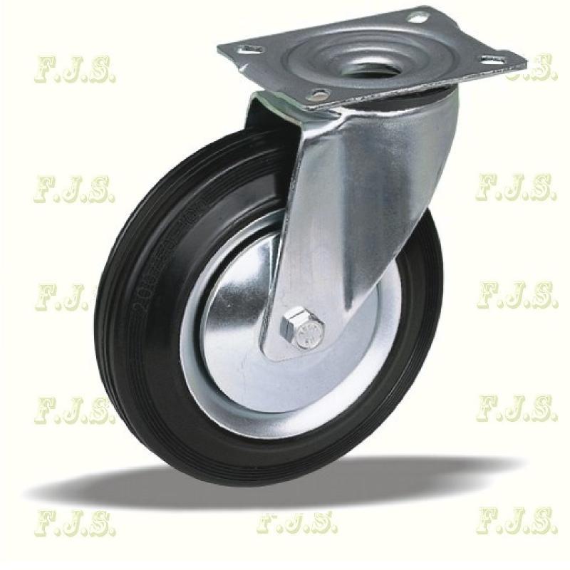 Kerék önbeálló talpas fém felnis, fekete gumis Ø200, 56996