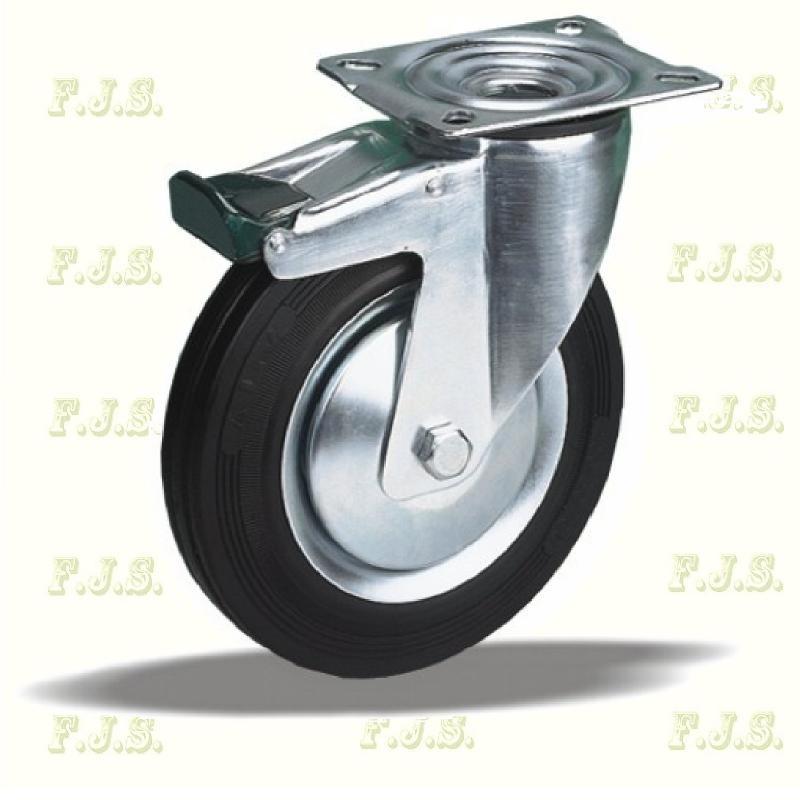 Kerék önbeálló talpas fém felnis, fékezhető, fekete gumis Ø160, 30324