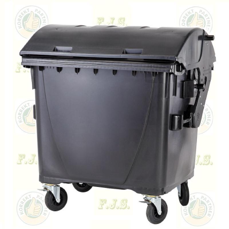 konténer 1100 literes fekete műanyag