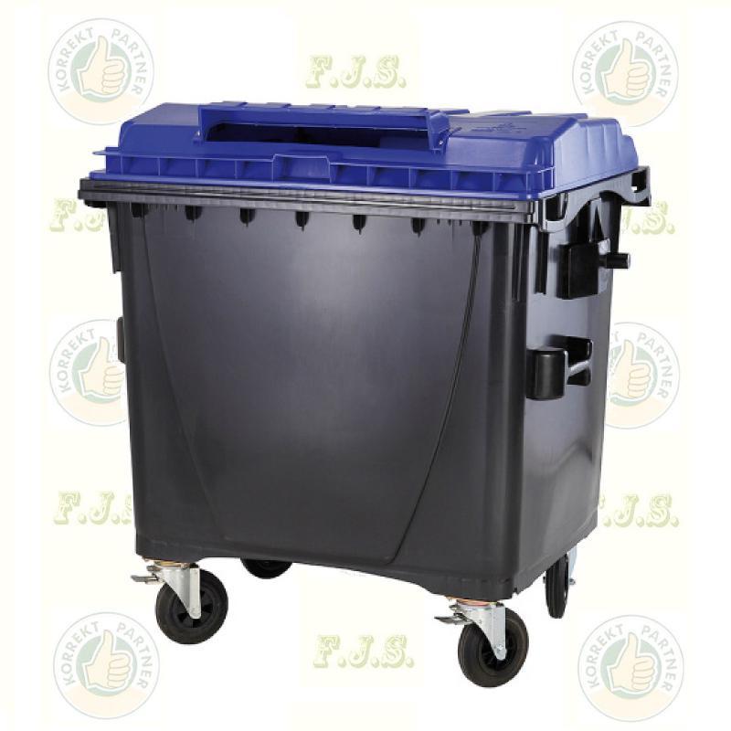 konténer 1100 literes szelektív műanyag, kék, lapos fedéllel, papír gyűjtésre