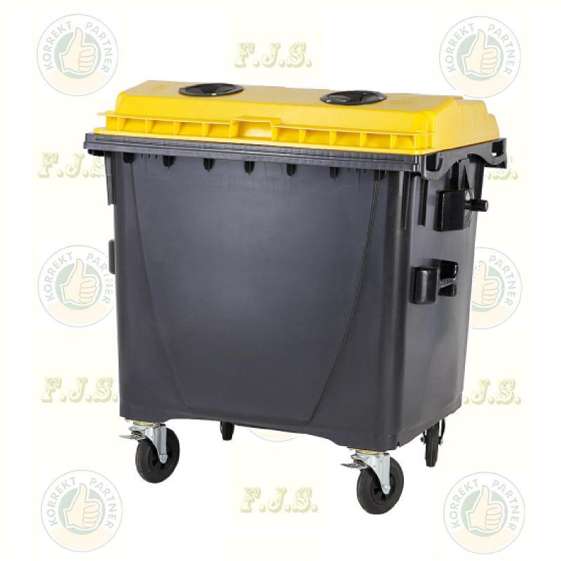 konténer 1100 literes szelektív műanyag, sárga, lapos fedéllel, műanyag gyűjtésre