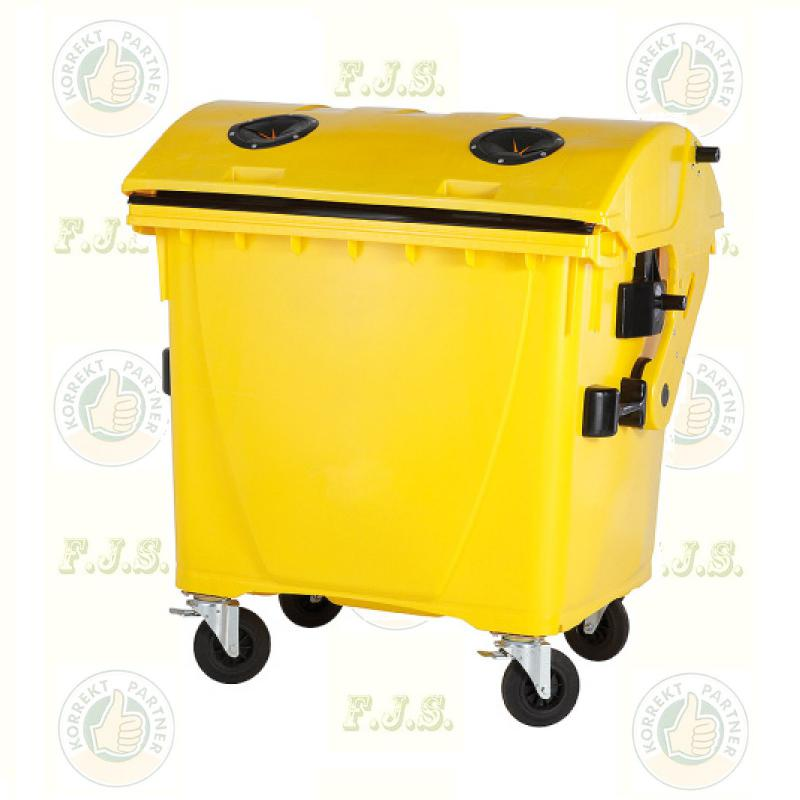konténer 1100 literes szelektív műanyag, sárga, műanyag gyűjtésre