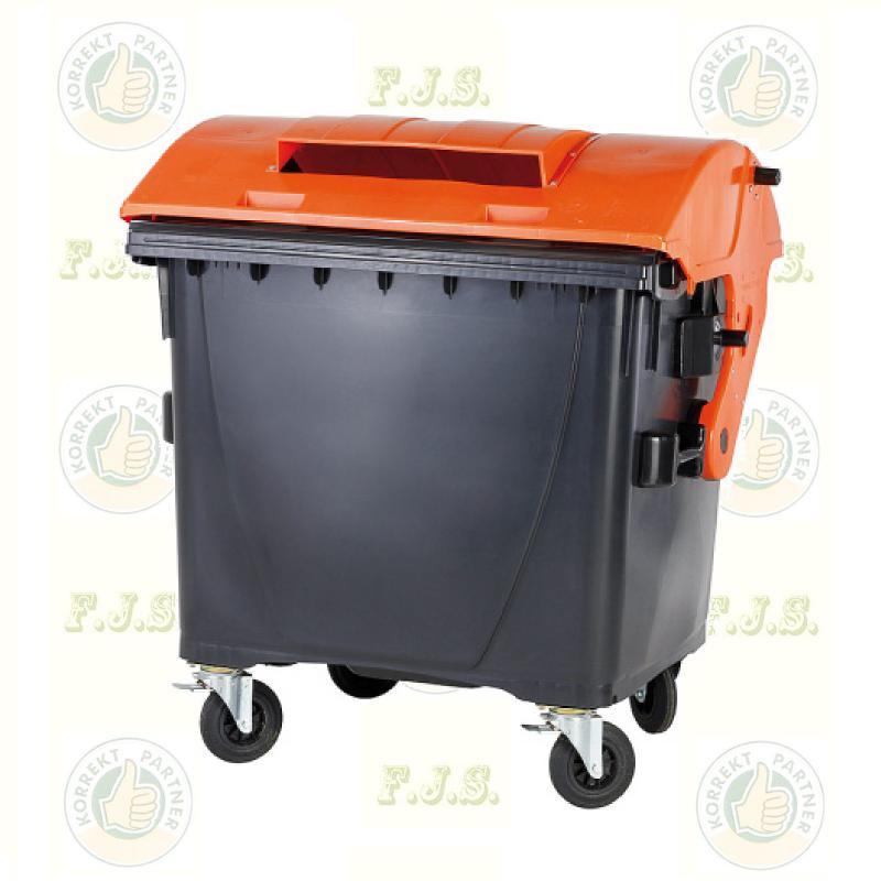 konténer 1100 literes szelektív műanyag, tetrapack fedéllel, papír gyűjtésre