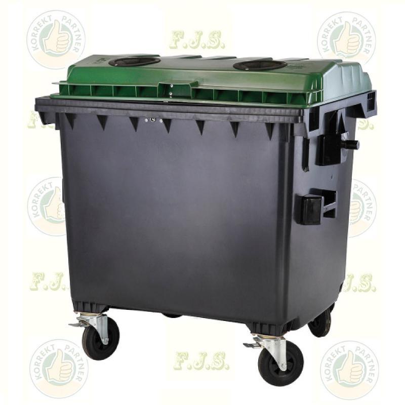 konténer 1100 literes szelektív műanyag, zöld, lapos fedéllel, üveg gyűjtésre