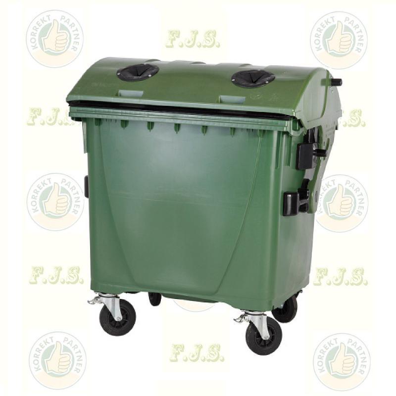 konténer 1100 literes szelektív műanyag, zöld, üveg gyűjtésre