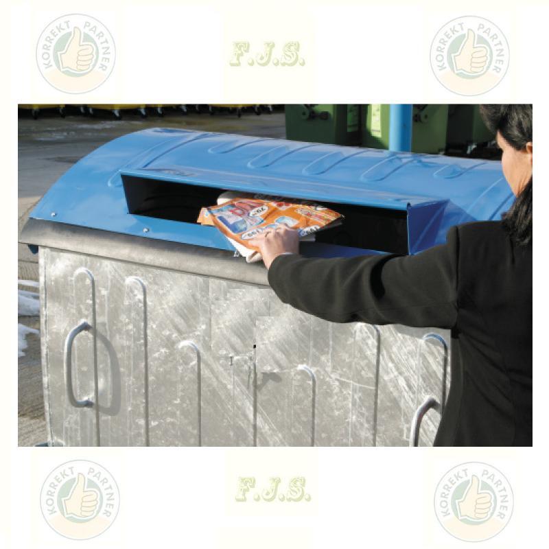 konténer 1100 literes szelektív tüzihorganyzott acél, kék fedéllel, papír gyűjtő