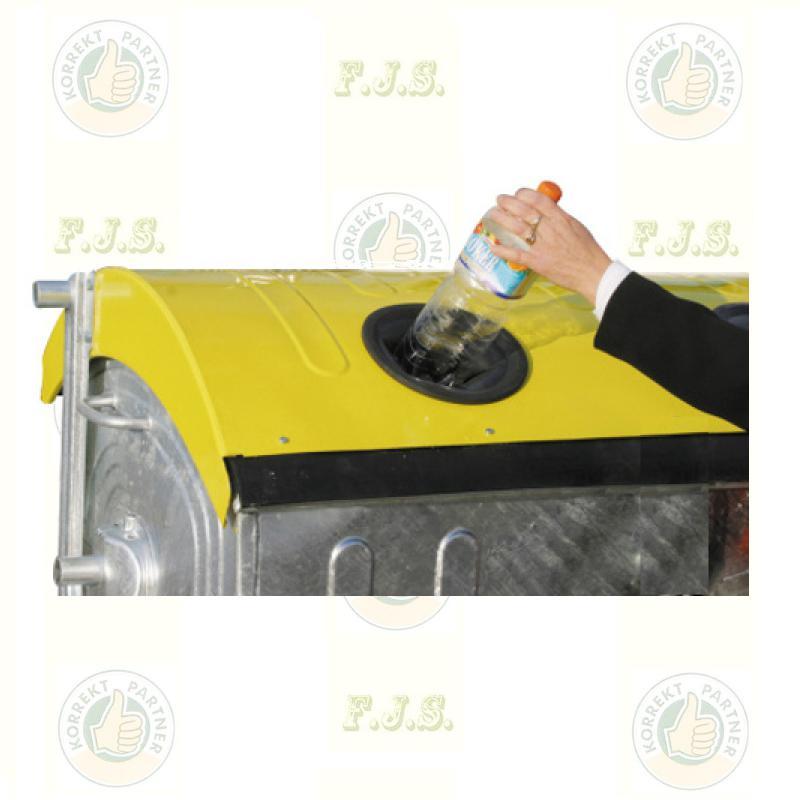 konténer 1100 literes szelektív tüzihorganyzott acél, sárga fedéllel, műanyag gyűjtő