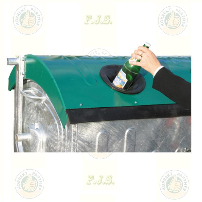 konténer 1100 literes szelektív tüzihorganyzott acél, zöld fedéllel, üveg gyűjtő