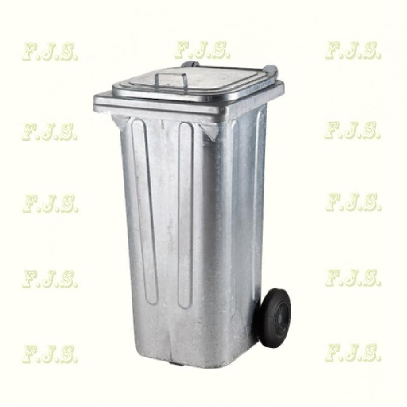 Kuka 120 l horganyzott fém kerekes hulladéktároló 120l. kültéri CE