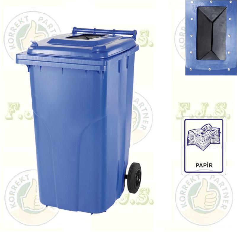 Kuka 120 l. kék szelektív papír szemetes hulladékgyűjtő műa.