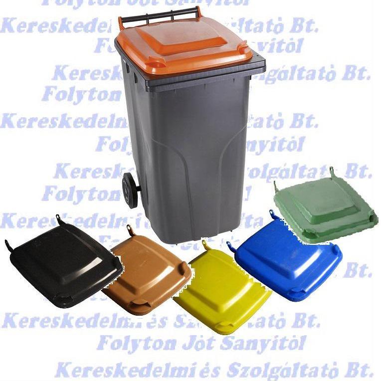 Kuka 120 l. műanyag hulladéktároló fekete, választható színes fedéllel 120l. kültéri