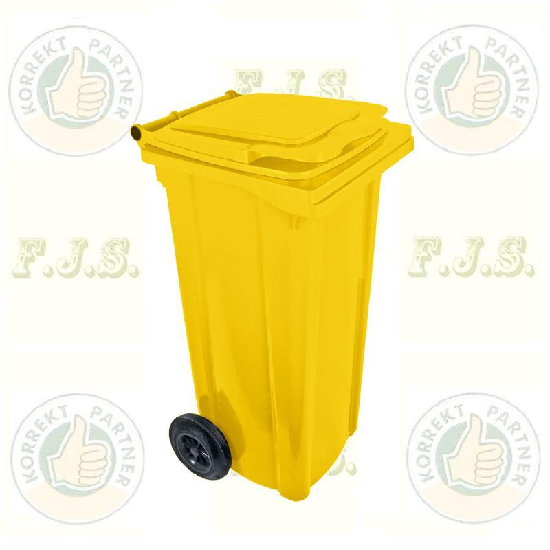 Kuka 120 l. sárga hulladéktároló műanyag 120l. CE kültéri szemetes (MUTA)