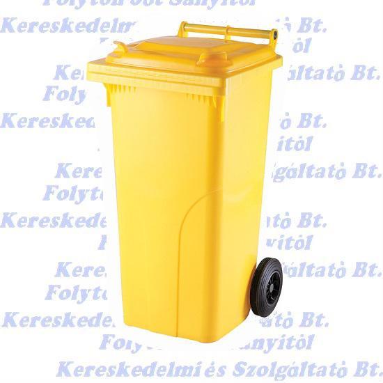 Kuka 120 l. sárga hulladéktároló műanyag 120l. kültéri szemetes
