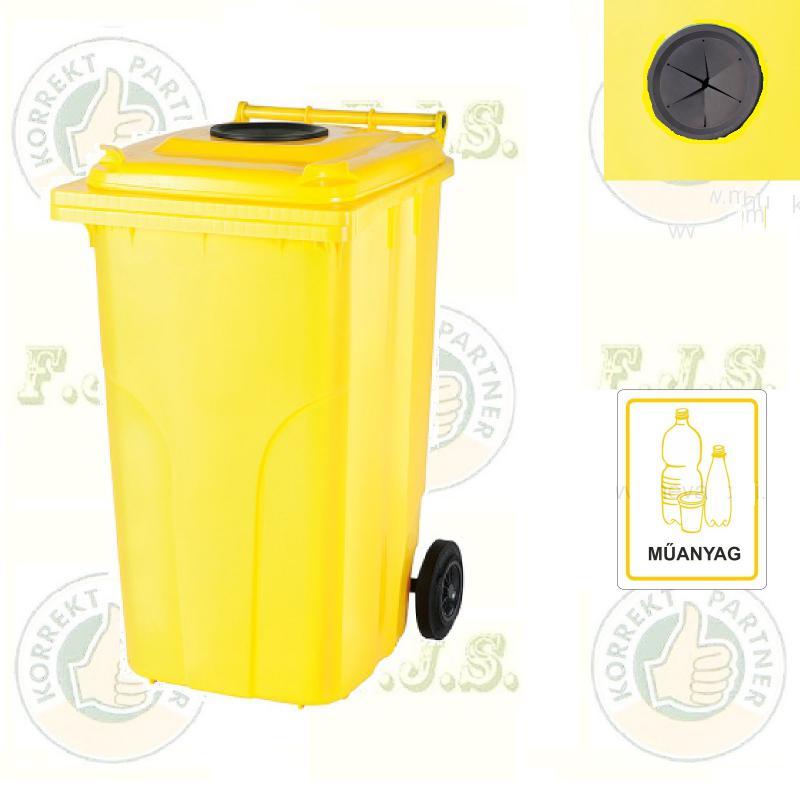 Kuka 120 l. sárga, szelektív műanyag-hulladék, szemetes hulladékgyűjtő műa.
