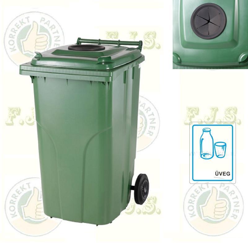 Kuka 120 l. zöld, szelektív üveg-hulladék, szemetes hulladékgyűjtő műa.
