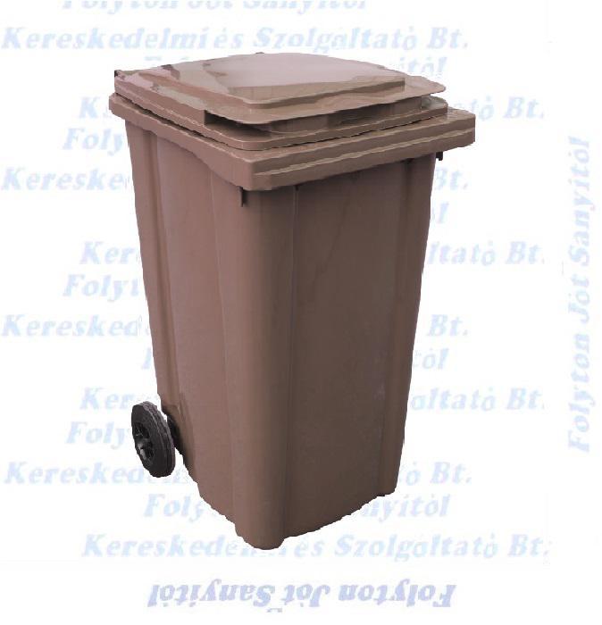 Kuka 240 l. barna hulladéktároló műanyag 240l. CE kültéri szemetes (MUTA)