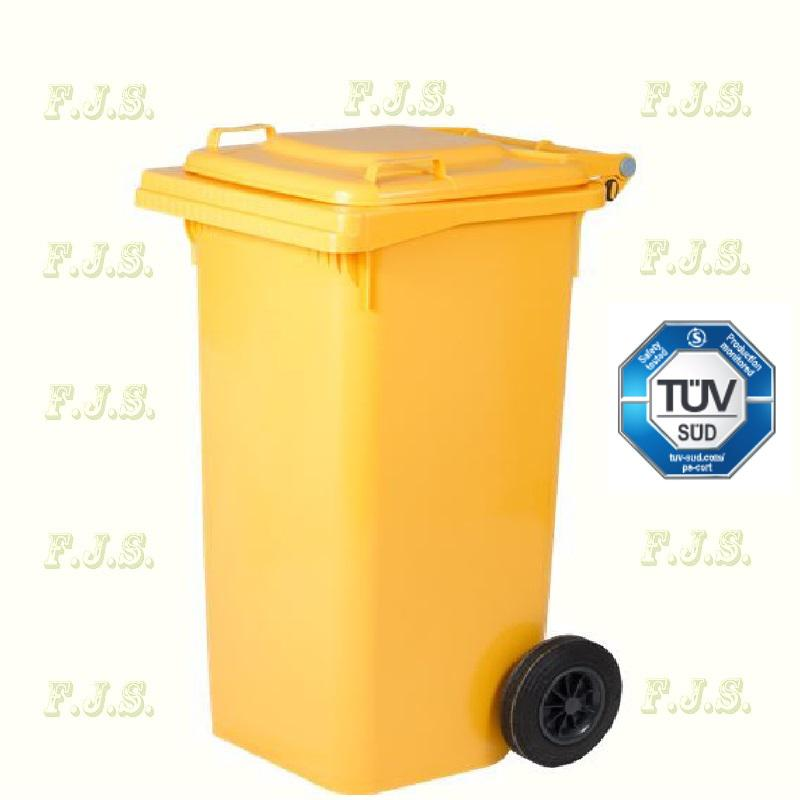 Kuka 240 l. Olasz sárga hulladéktároló műanyag 240l. kültéri szemetes