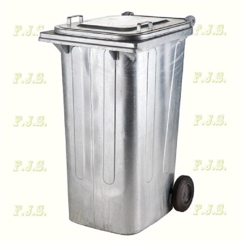 Kuka 240 l tűzihorganyzott fém kerekes hulladéktároló 240l. kültéri szemetes CE