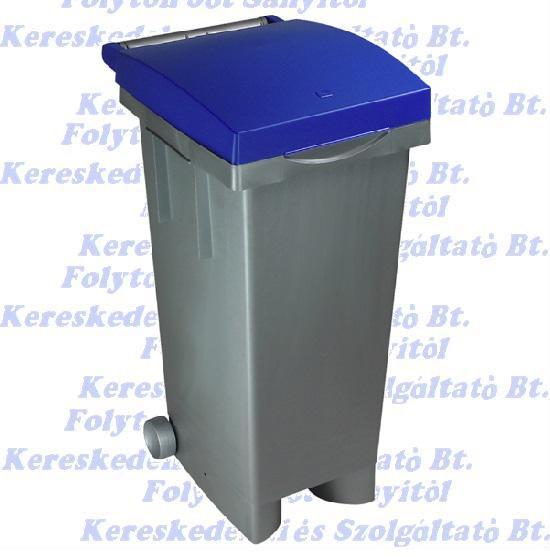 Kuka 80 l. Olasz kék fedél szürke test beltéri, kültéri szelektív szemetes CE
