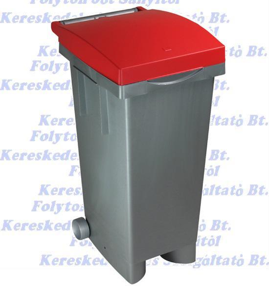 Kuka 80 l. Olasz piros fedél szürke test beltéri, kültéri szelektív szemetes CE