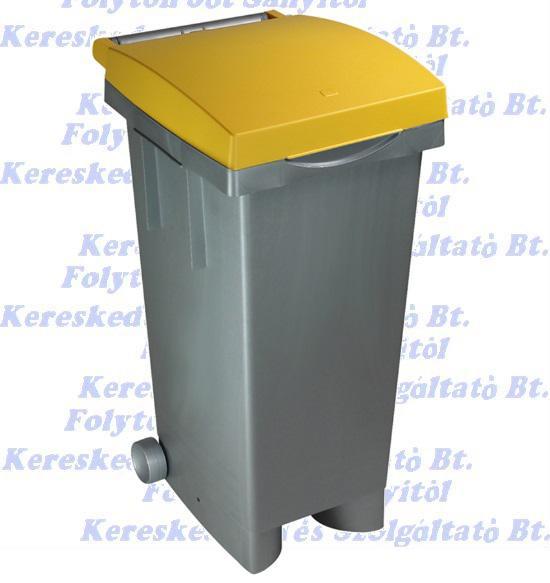 Kuka 80 l. Sárga fedél szürke test  Olasz szelektív hulladéktároló beltéri, kültéri szemetes