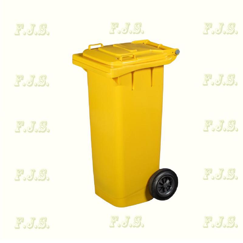 Kuka 80 l. sárga hulladéktároló műanyag 80l. kültéri szemetes