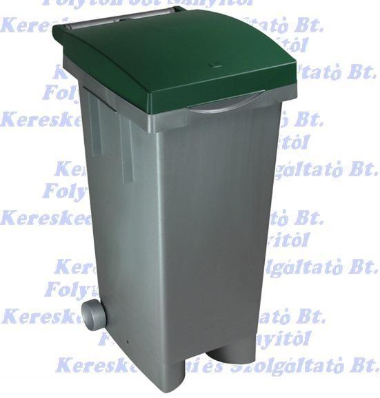 Kuka 80 l. zöld fedél szürke test  Olasz szelektív hulladéktároló beltéri, kültéri szemetes