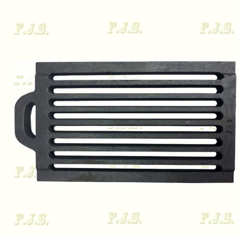 Öntvény rostély, tűzrács füles 31,5 x 19,5 cm x 22 mm FK-2 cserépkályhához
