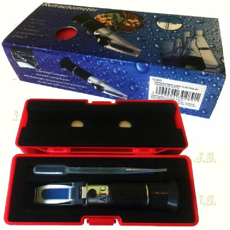 Refractometer 0-40 Brix és 0-25 V/V % alkohol, (borhoz) piros