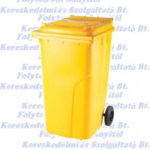 Kuka 240 l. sárga hulladéktároló műanyag 240l. kültéri