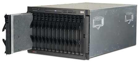 Felújított IBM Bladecenter csomag: E-keret + 2db Gigabit ETH switch + 14db 8-magos szerver