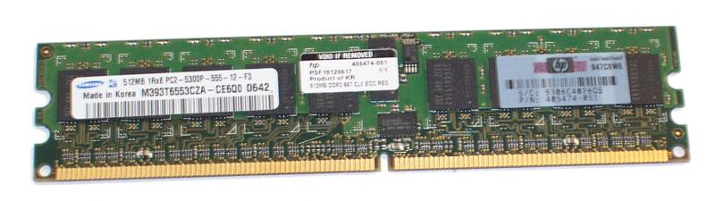 HP 512MB, 667MHz, PC2-5300, registered DDR2 Fully Buffered DIMMs (FBD) memory module