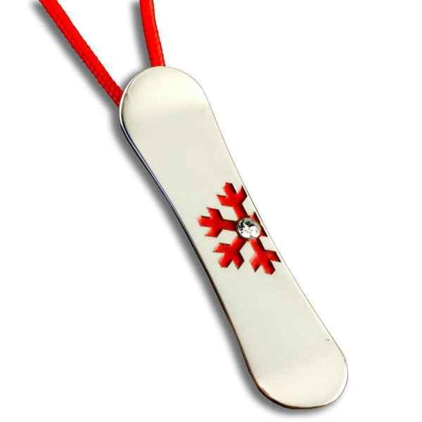 Medál (Snowboard M, ezüst-red)