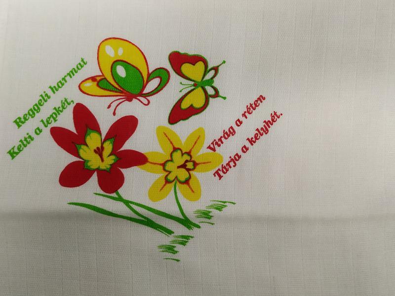 Nyomott mintás pelenka 70x70 Virágos