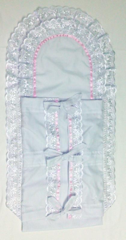 Pólyahuzat dupla fodros batiszt szalagos 35x135, rózsaszín