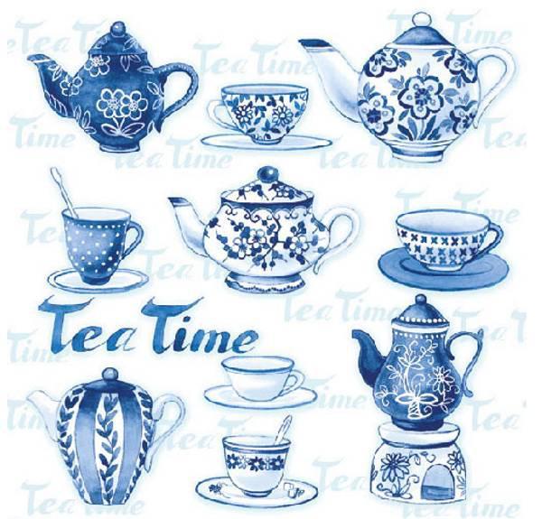 Ambiente 13307595 Tea Moments Blue papírszalvéta, 33X33 cm, 20 db, 3 rétegű