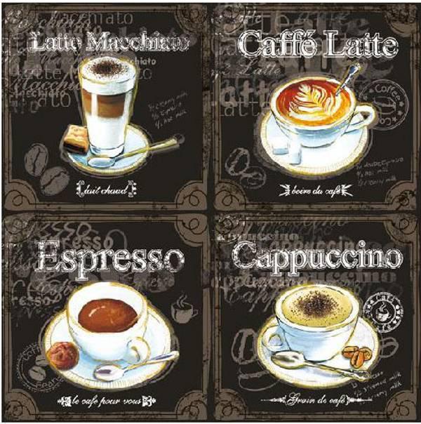 Ambiente 13308250 Types Of Coffee papírszalvéta 33x33cm,20db-os
