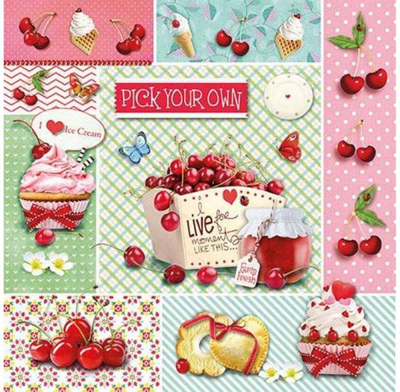 Ambiente 13311405 Red Cherries papírszalvéta 33x33cm, 20db-os