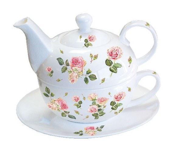 AMBIENTE 18113000 Rosie white porcelán egyszemélyes teás szett+ alj, 0,3L