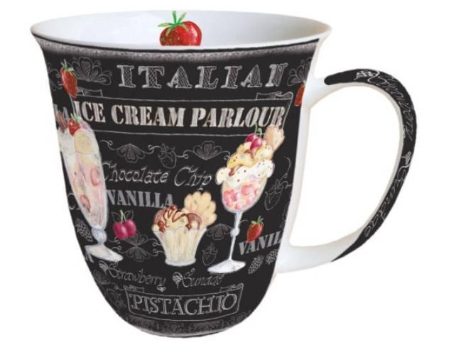 AMBIENTE 18408955 Ice Creme Black porcelán bögre 0,4l